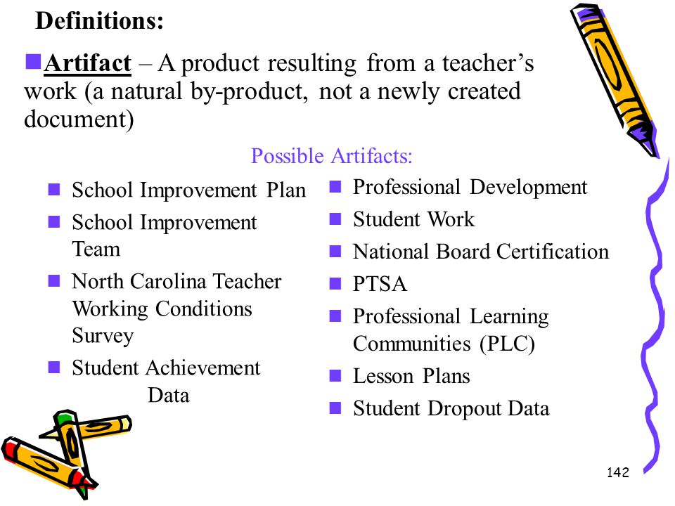 Definitions: Artifact – A product resulting from a teacher's work (a natural by-product, not a newly created document)