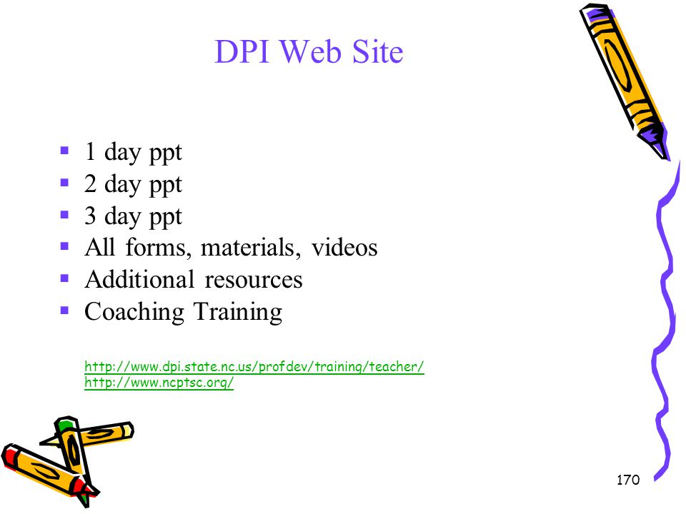 DPI Web Site 1 day ppt 2 day ppt 3 day ppt