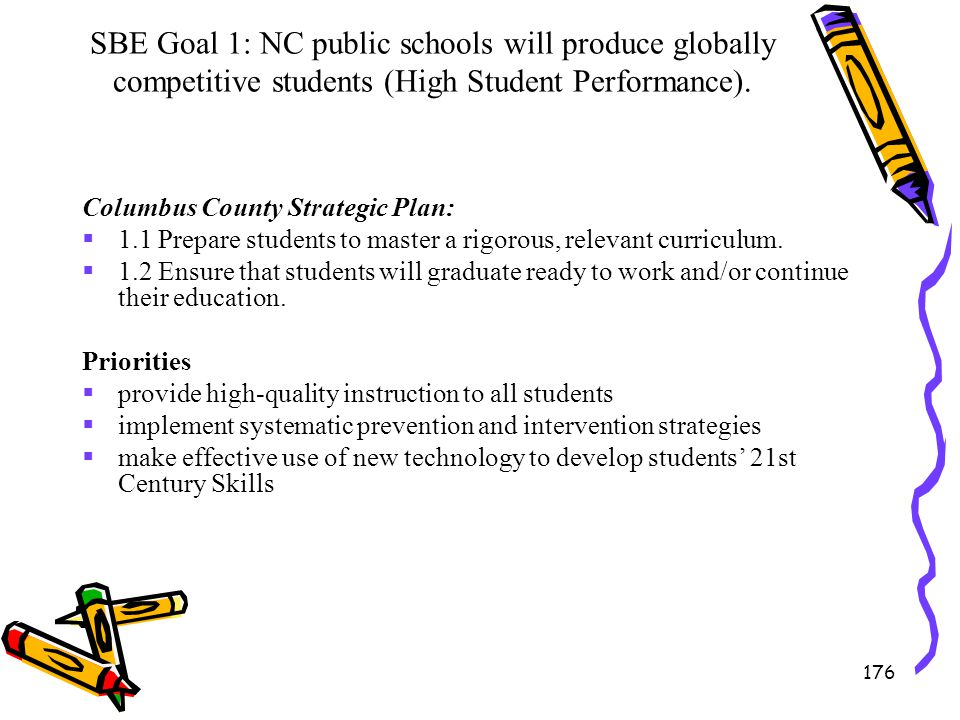 SBE Goal 1: NC public schools will produce globally competitive students (High Student Performance).