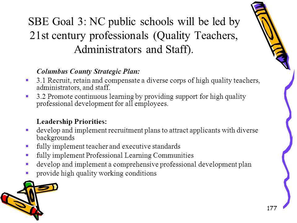 SBE Goal 3: NC public schools will be led by 21st century professionals (Quality Teachers, Administrators and Staff).