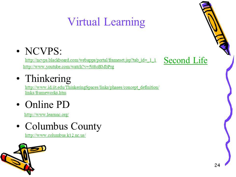 Virtual Learning NCVPS: http://ncvps.blackboard.com/webapps/portal/frameset.jsp tab_id=_1_1. http://www.youtube.com/watch v=5it8oBMbPrg.