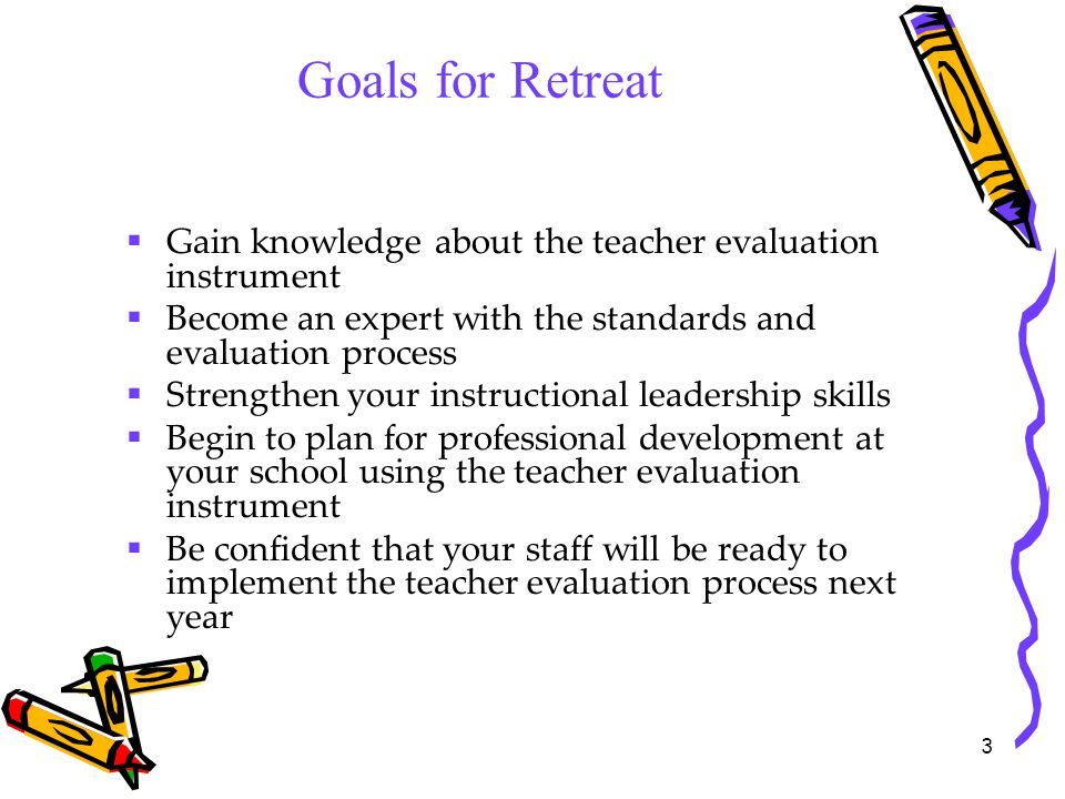 Goals for Retreat Gain knowledge about the teacher evaluation instrument. Become an expert with the standards and evaluation process.