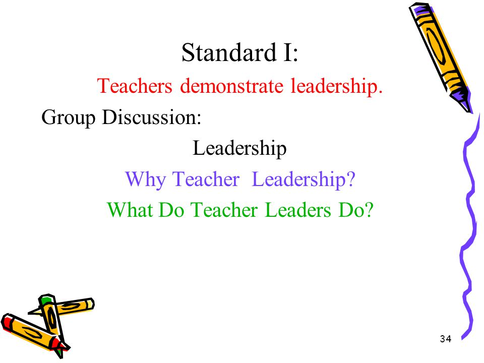 Standard I: Teachers demonstrate leadership. Group Discussion: