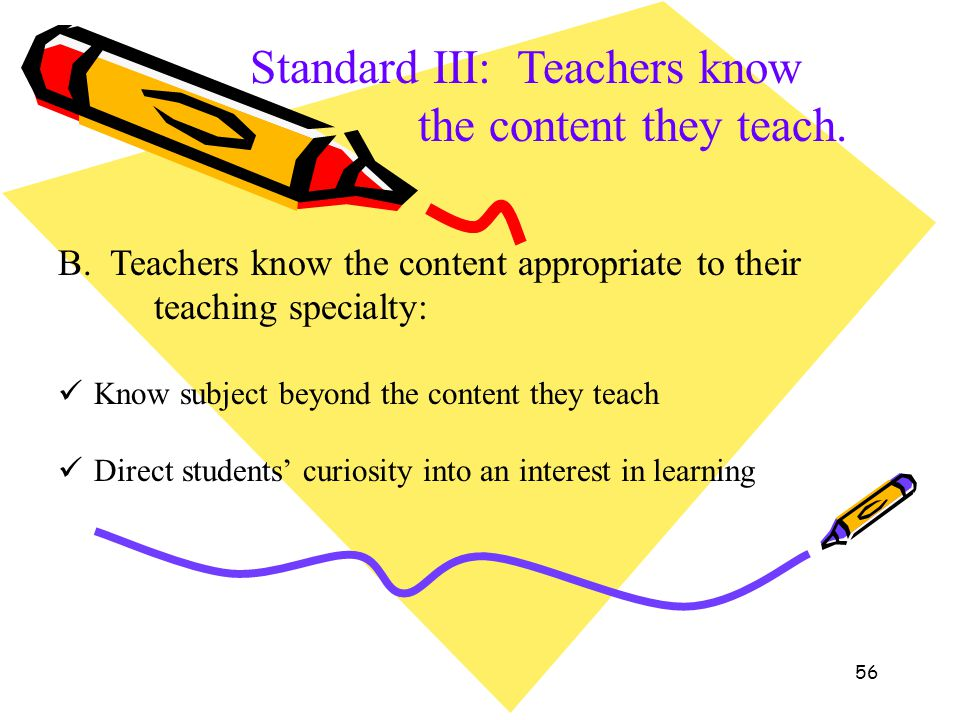 Standard III: Teachers know the content they teach.
