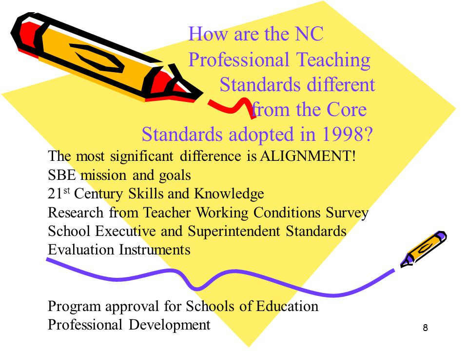 How are the NC. Professional Teaching. Standards different