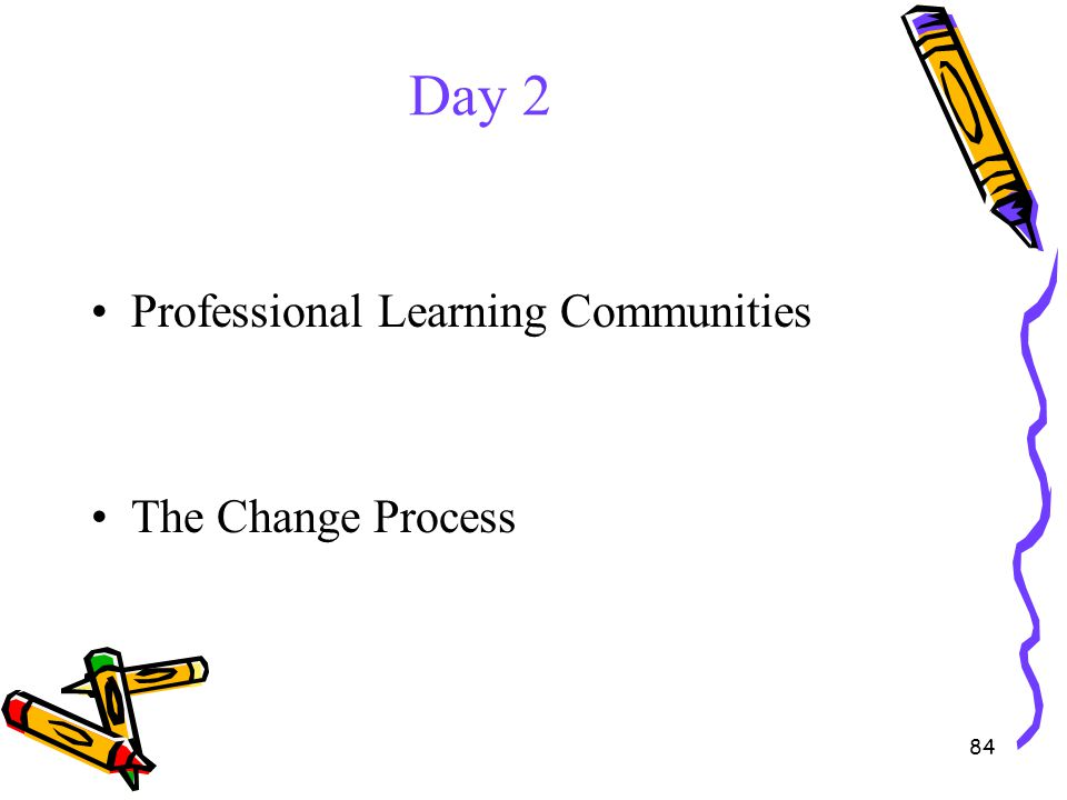 Day 2 Professional Learning Communities The Change Process