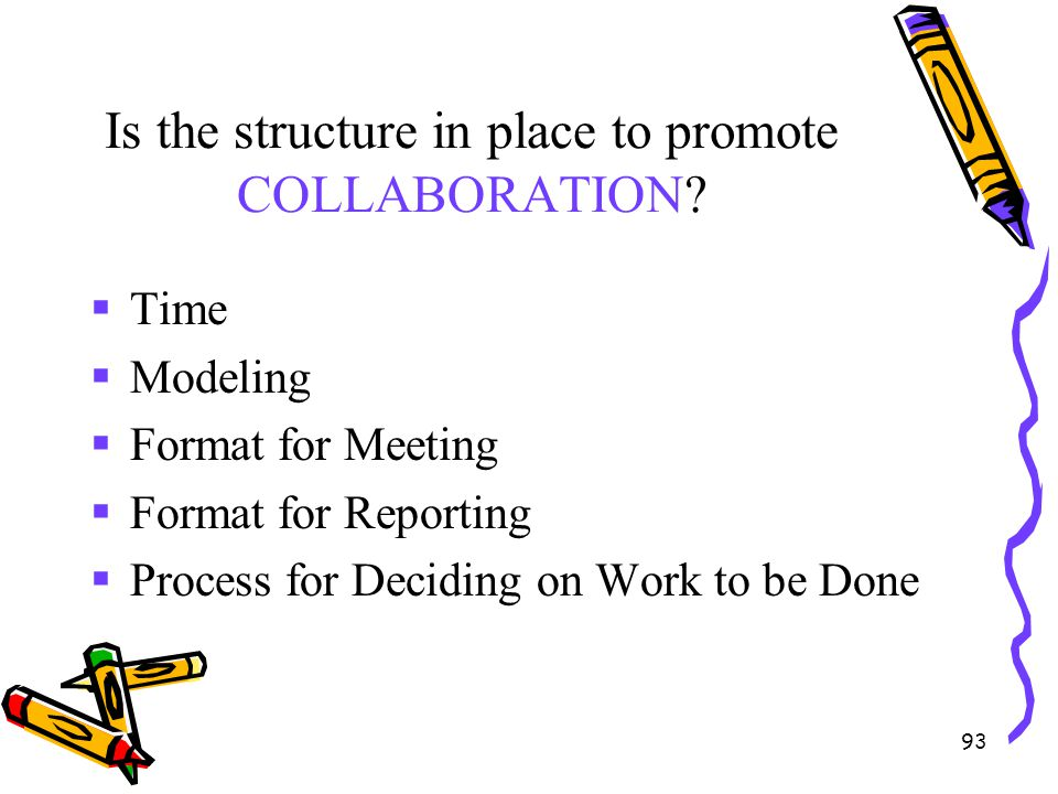 Is the structure in place to promote COLLABORATION