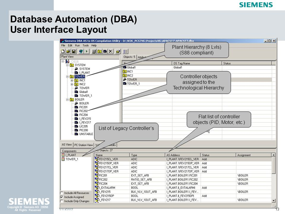 Database Automation (DBA) User Interface Layout