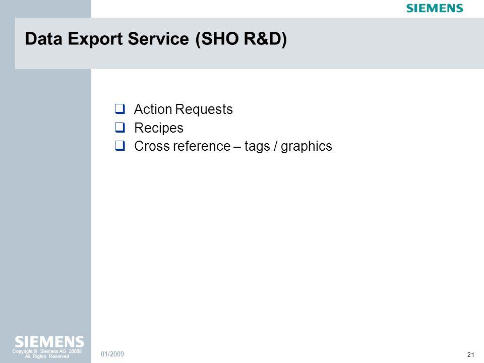 Data Export Service (SHO R&D)
