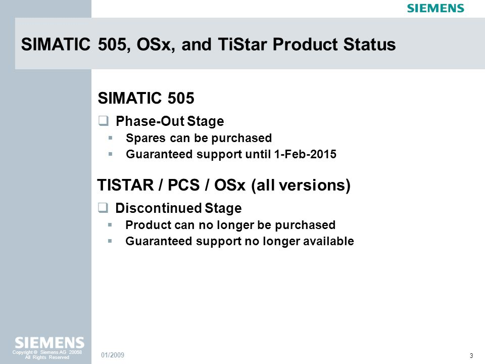 SIMATIC 505, OSx, and TiStar Product Status