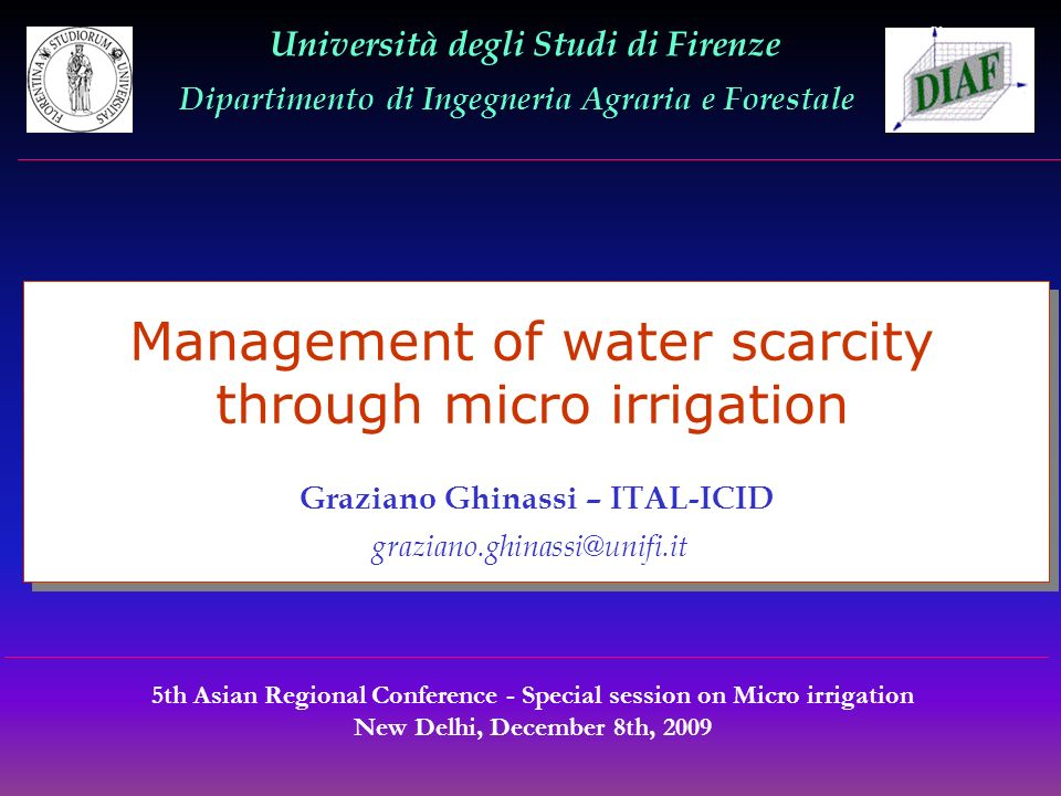 Management of water scarcity through micro irrigation