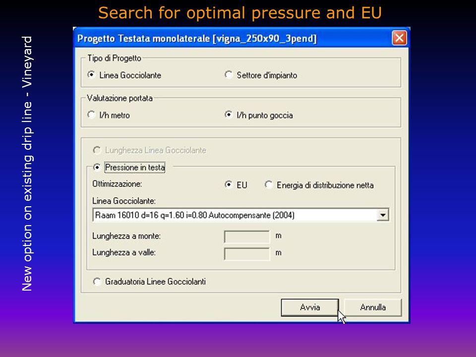Search for optimal pressure and EU