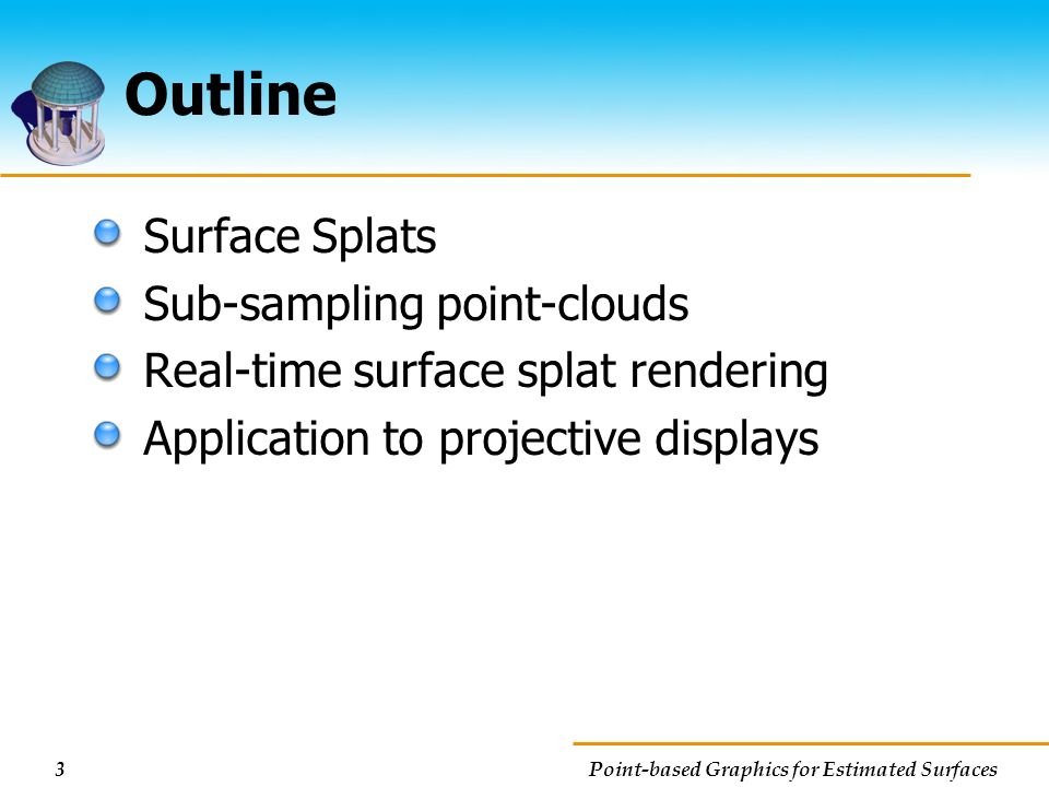 Outline Surface Splats Sub-sampling point-clouds
