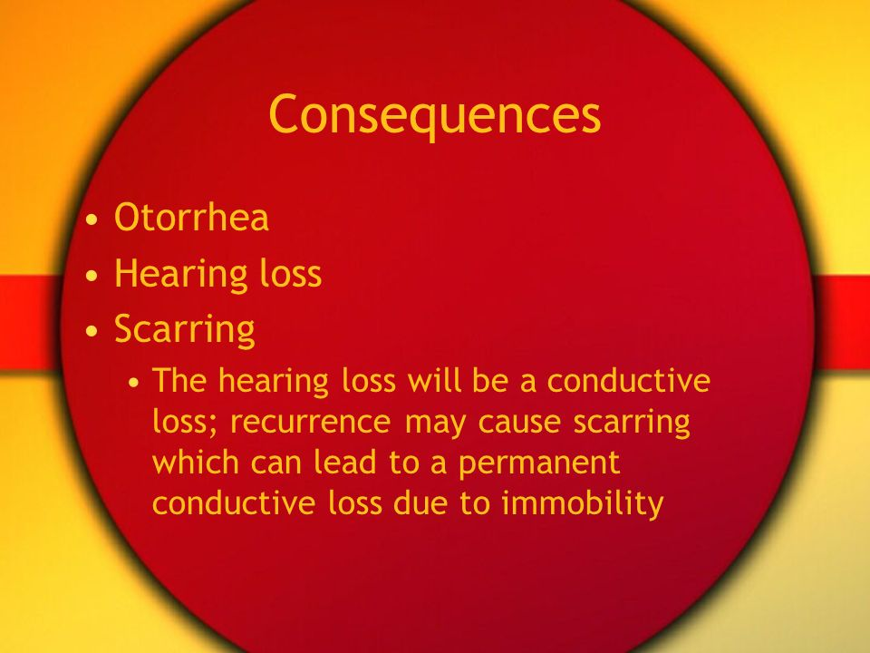 Consequences Otorrhea Hearing loss Scarring