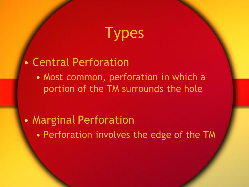 Types Central Perforation Marginal Perforation