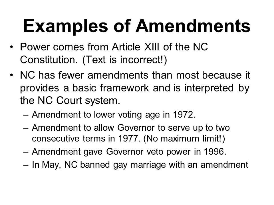 Examples of Amendments