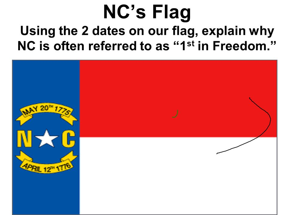NC's Flag Using the 2 dates on our flag, explain why NC is often referred to as 1st in Freedom.