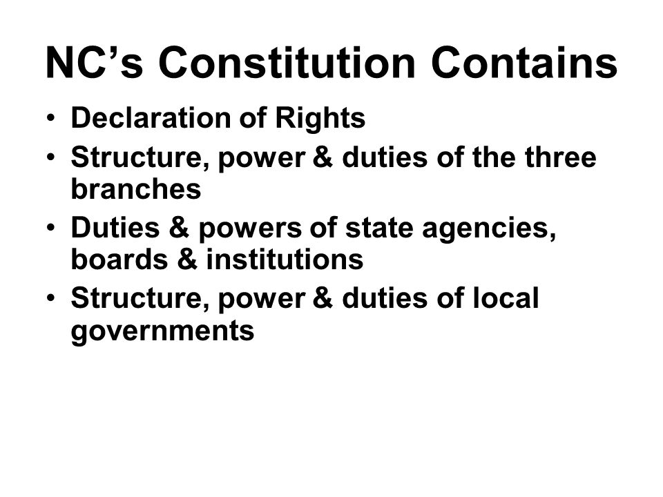 NC's Constitution Contains
