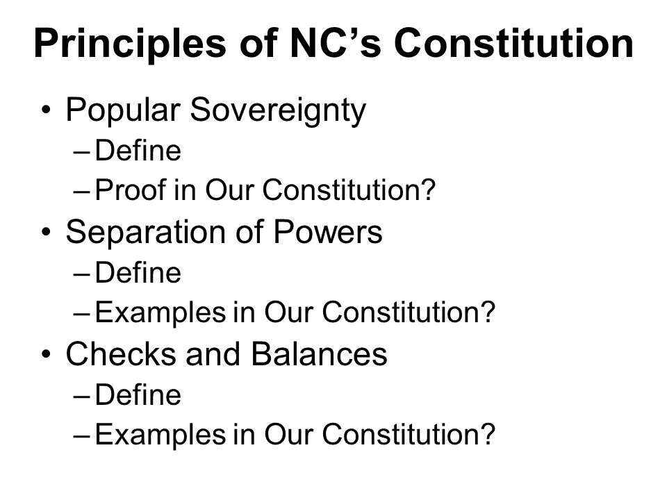 Principles of NC's Constitution