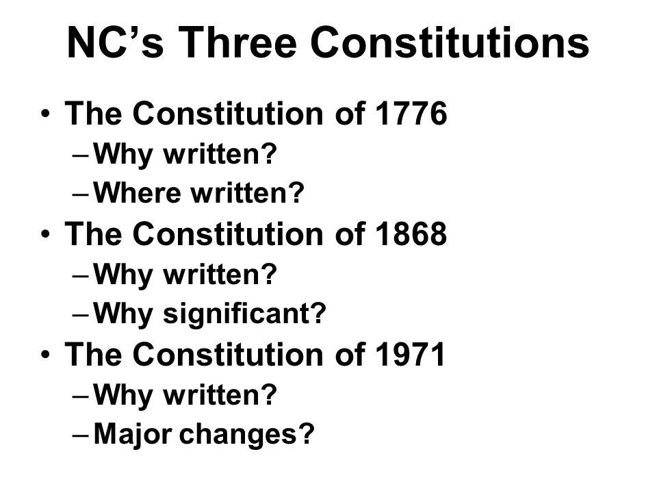 NC's Three Constitutions