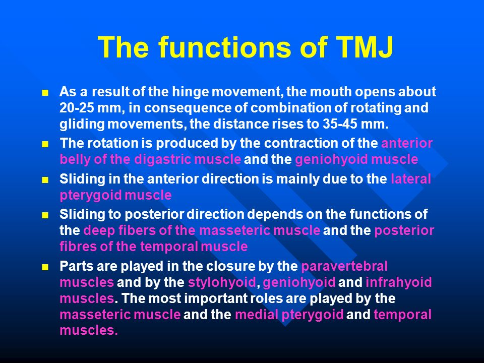 The functions of TMJ