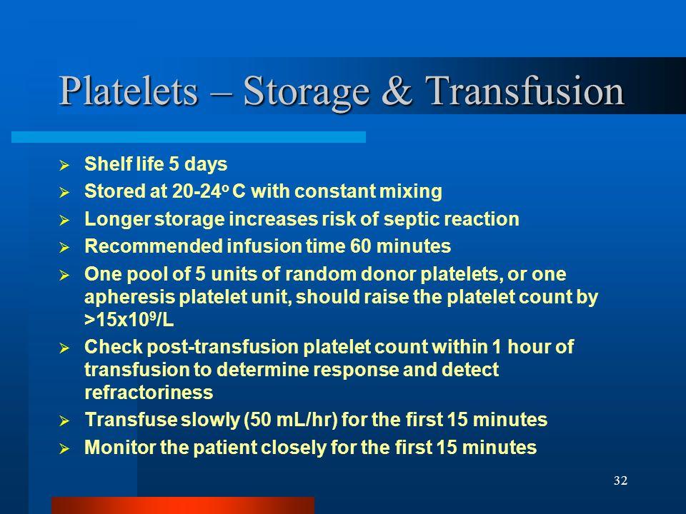 Platelets – Storage & Transfusion