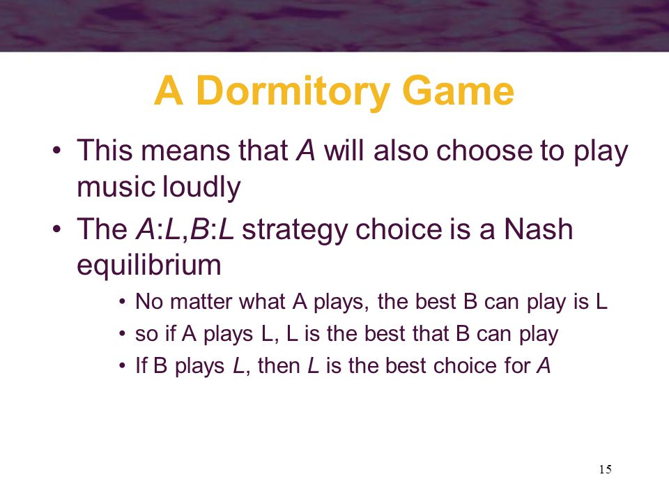A Dormitory Game This means that A will also choose to play music loudly. The A:L,B:L strategy choice is a Nash equilibrium.