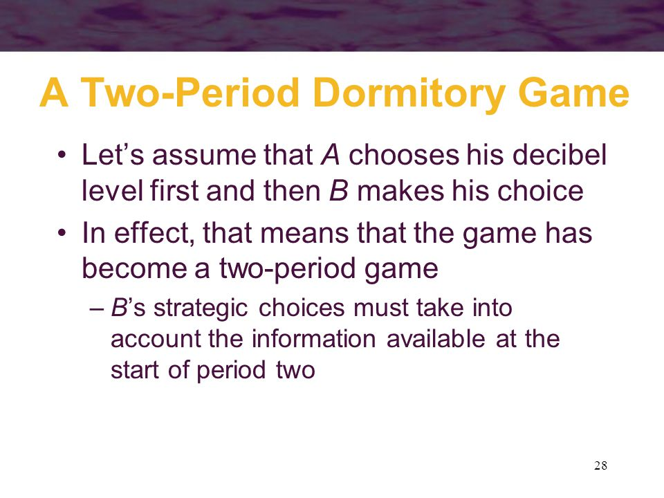A Two-Period Dormitory Game