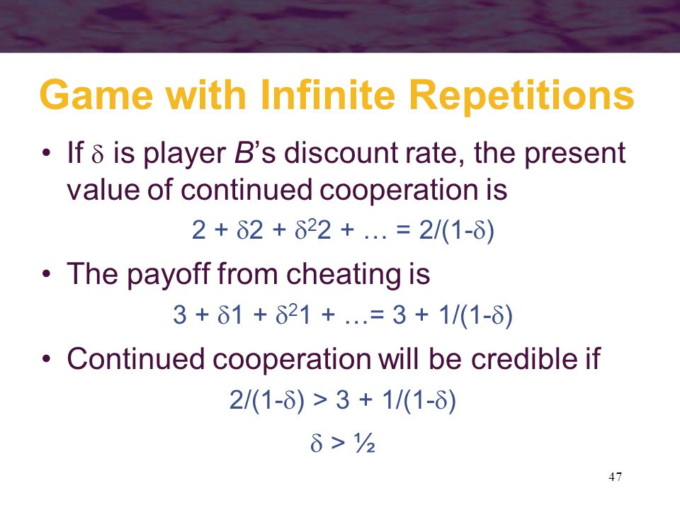 Game with Infinite Repetitions