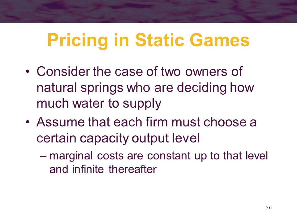 Pricing in Static Games