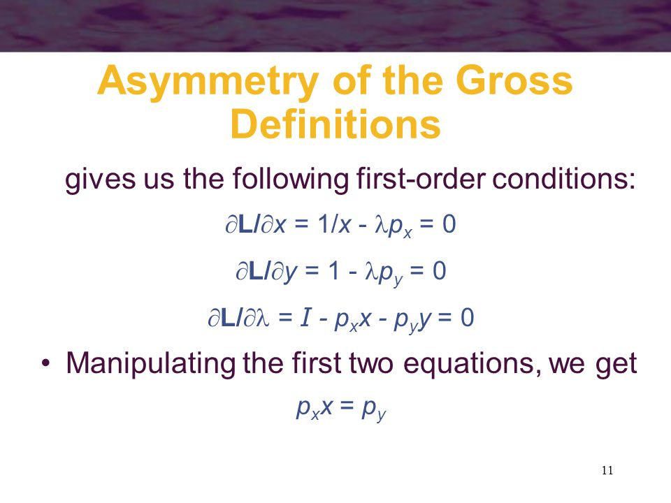 Asymmetry of the Gross Definitions