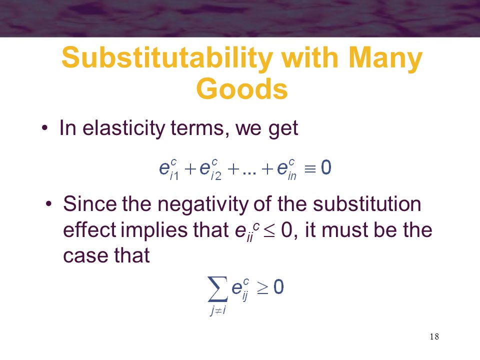 Substitutability with Many Goods