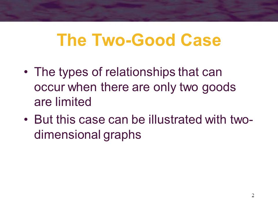The Two-Good Case The types of relationships that can occur when there are only two goods are limited.