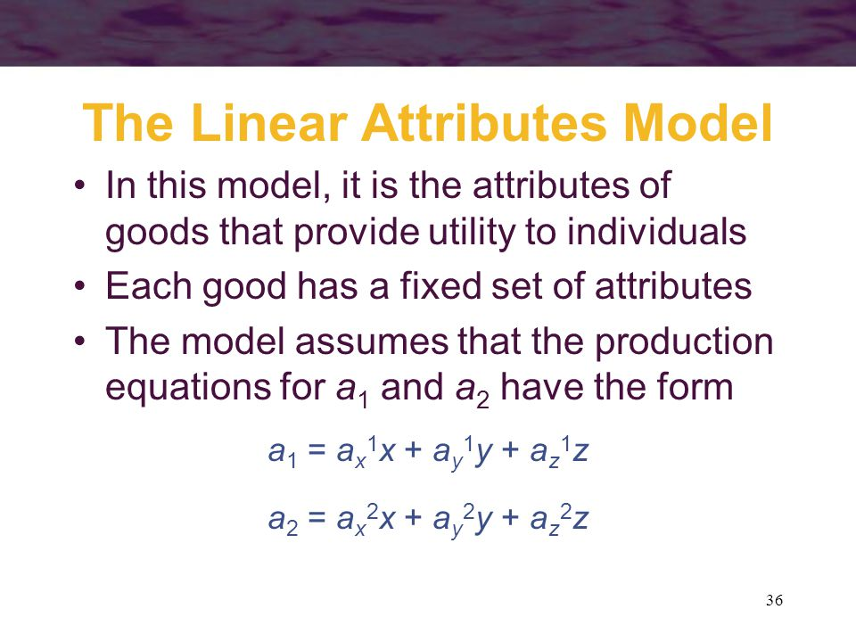 The Linear Attributes Model
