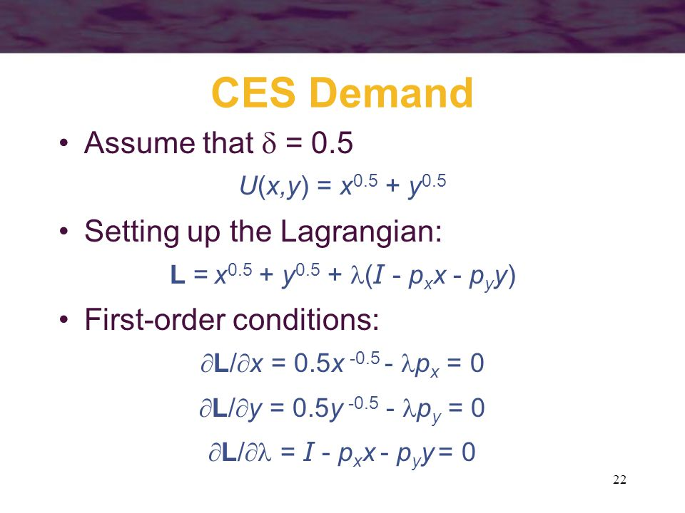 CES Demand Assume that  = 0.5 Setting up the Lagrangian: