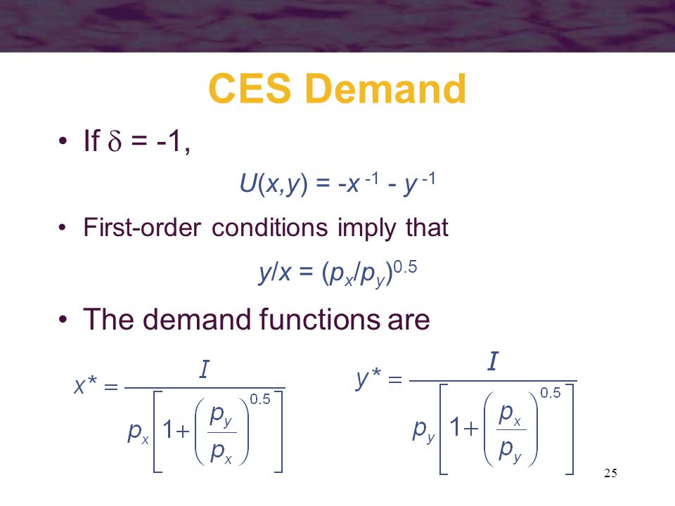 CES Demand If  = -1, The demand functions are U(x,y) = -x -1 - y -1