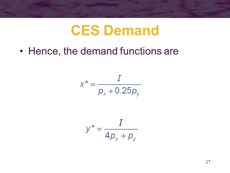 CES Demand Hence, the demand functions are