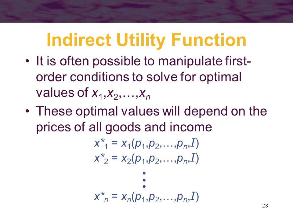 Indirect Utility Function