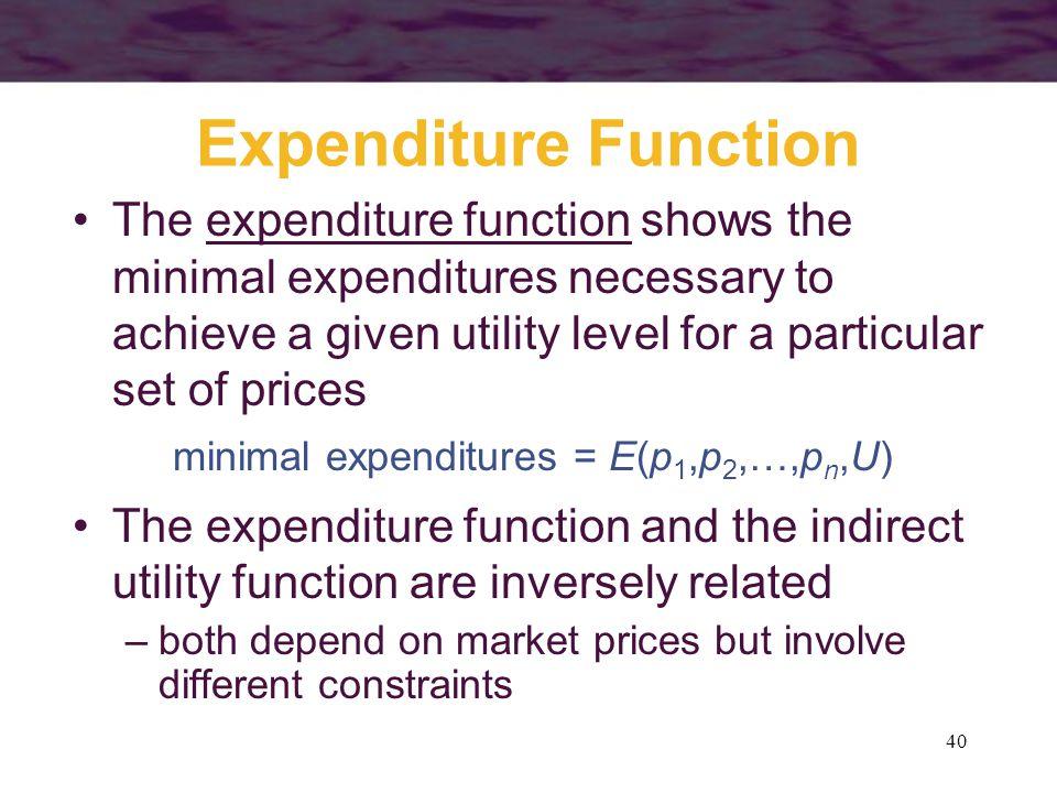 minimal expenditures = E(p1,p2,…,pn,U)