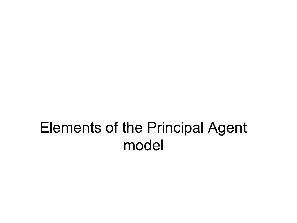 Elements of the Principal Agent model