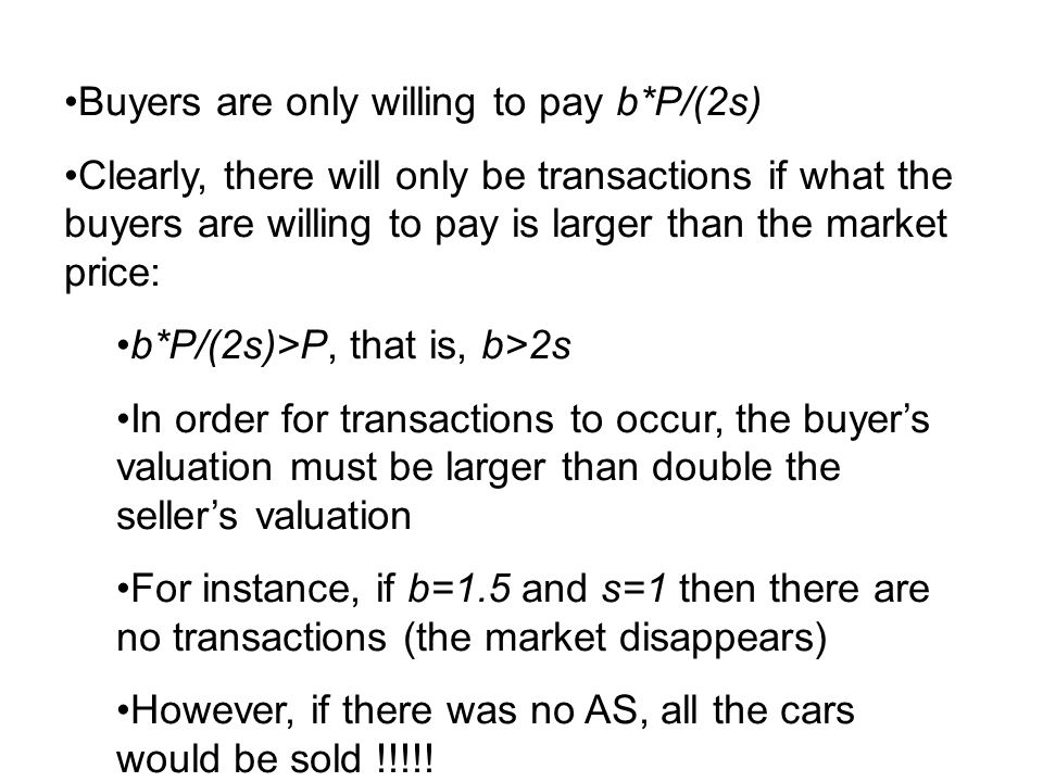 Buyers are only willing to pay b*P/(2s)