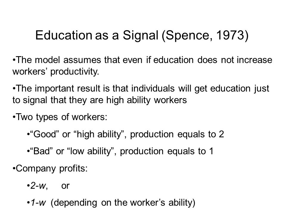 Education as a Signal (Spence, 1973)