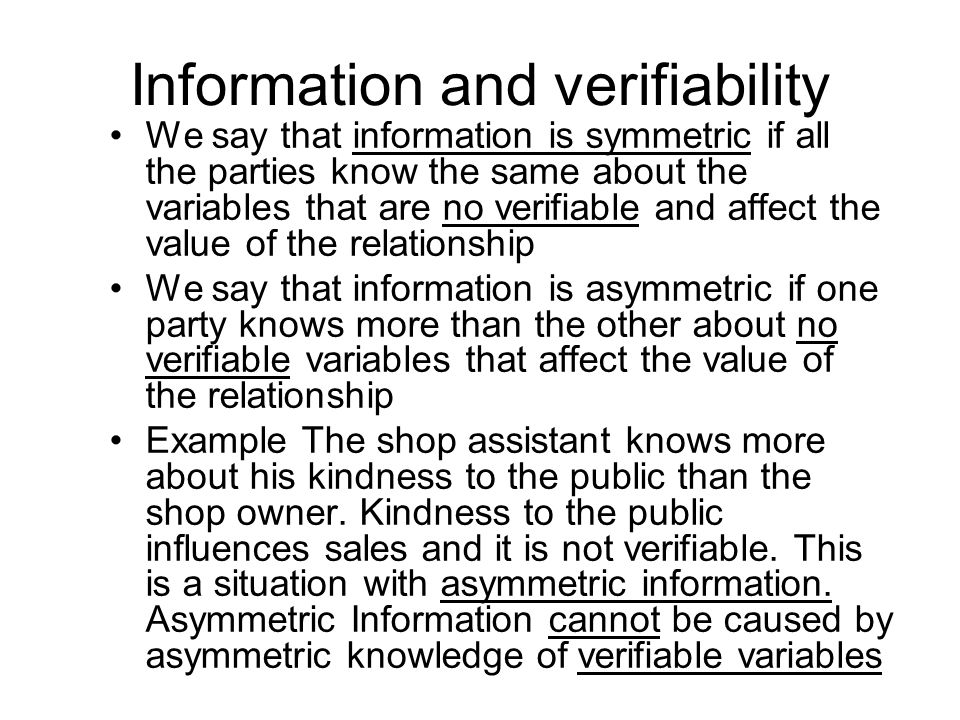 Information and verifiability