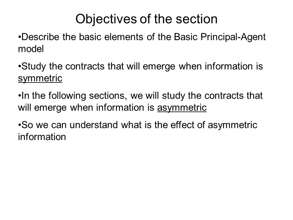 Objectives of the section