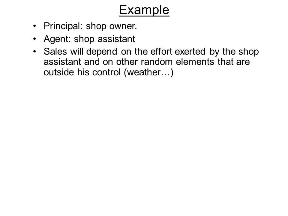 Example Principal: shop owner. Agent: shop assistant