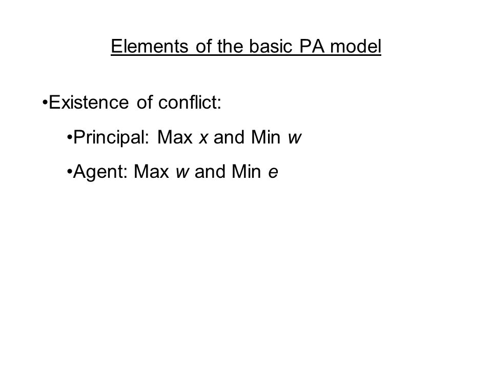 Elements of the basic PA model