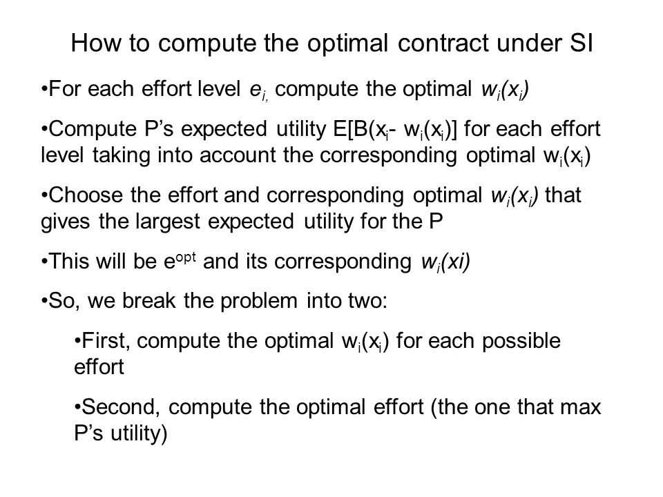 How to compute the optimal contract under SI