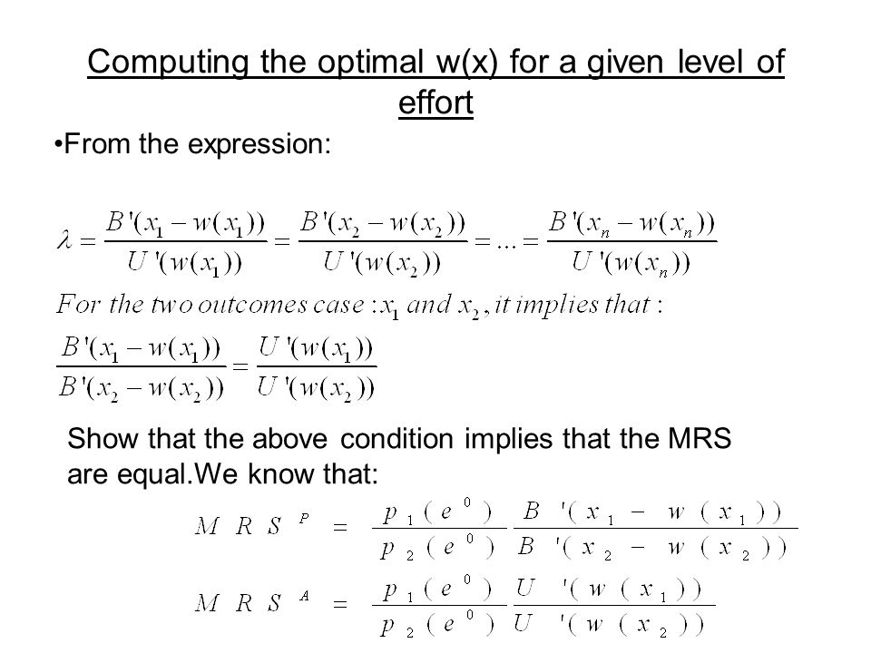 Computing the optimal w(x) for a given level of effort