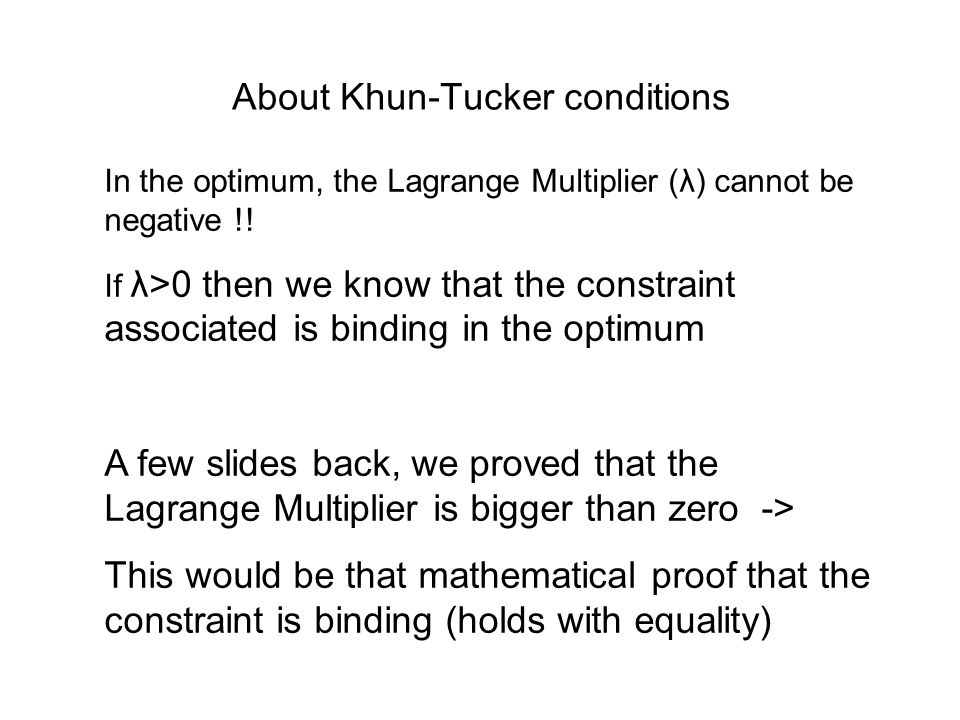About Khun-Tucker conditions