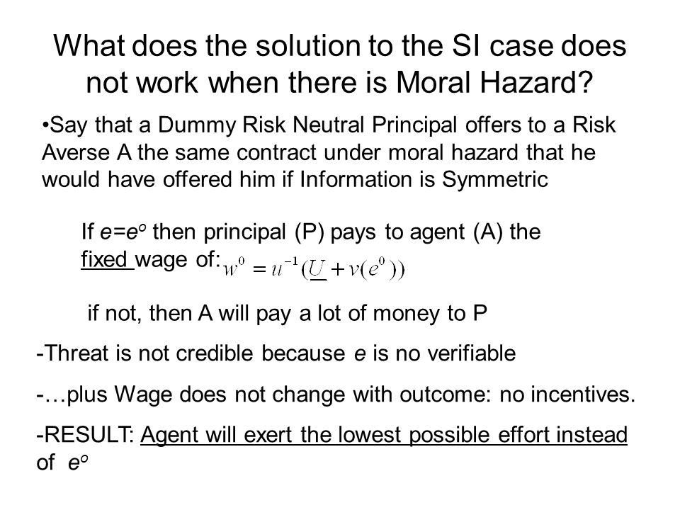 What does the solution to the SI case does not work when there is Moral Hazard
